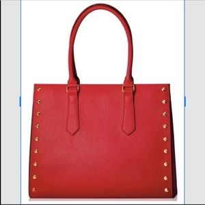 Elizabeth Arden Large Red Tote with Gold Studs